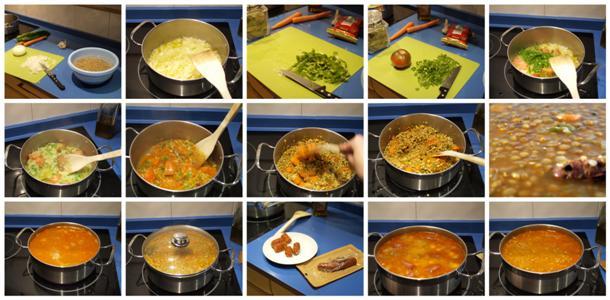 Receta de lentejas con verduras y chorizo paso a paso