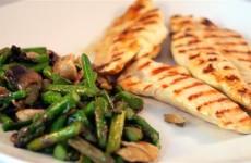 Receta de pechugas de pollo a la plancha con champiñones y espárragos verdes