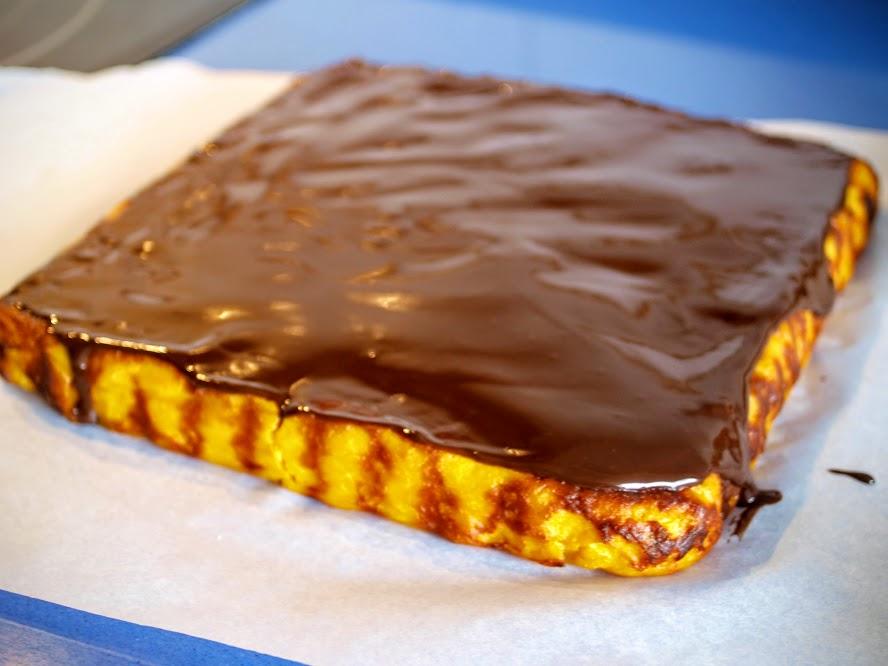 tarta calabaza con cobertura de chocolate