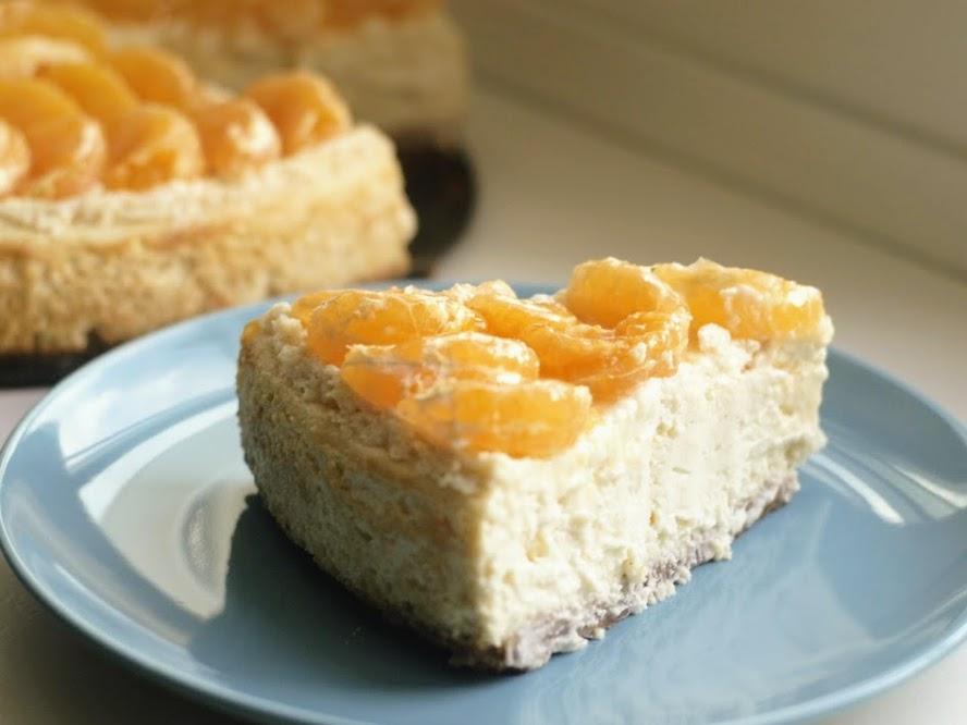 tarta queso y mandarinas