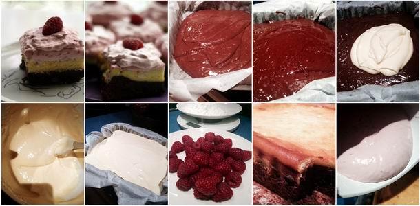 Brownie con tarta de queso y crema de frambuesas paso a paso
