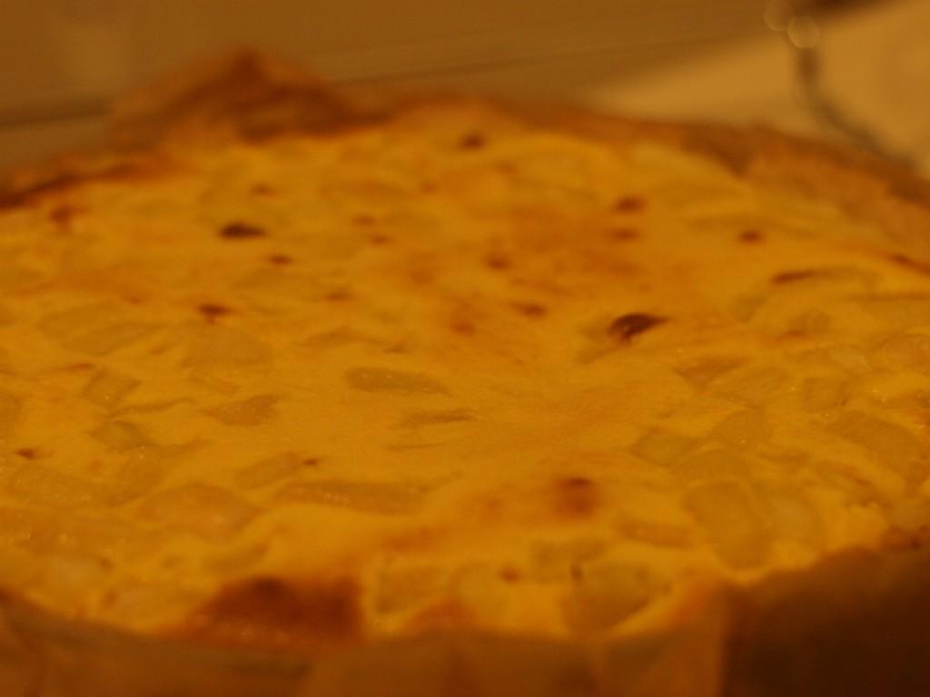 tarta de ruibarbo después de la primera horneada