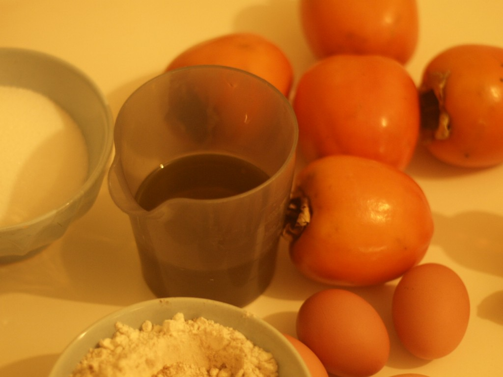 Tarta de Naranja y Kaki making